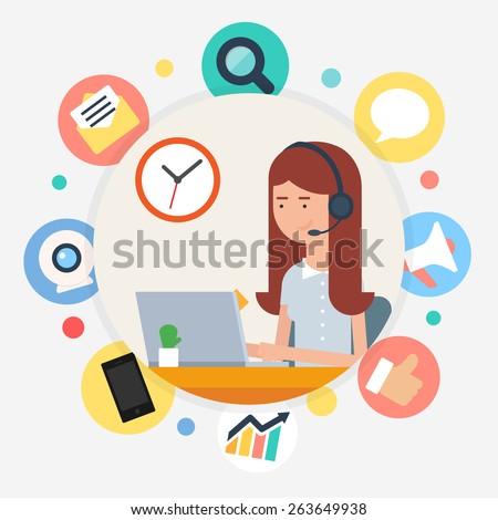 Call center operator, vector illustration flat style - stock vector