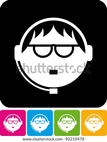 Call center operator with headset - Vector icon isolated on white - stock vector