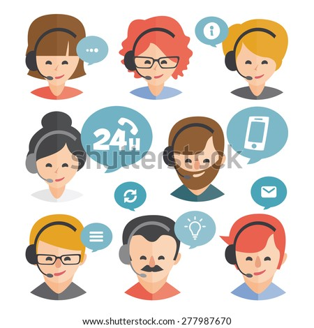 Call center operator with headset web icon design. Call center avatar set. Client services and communication, customer support, phone assistance, information, solutions. Vector - stock vector