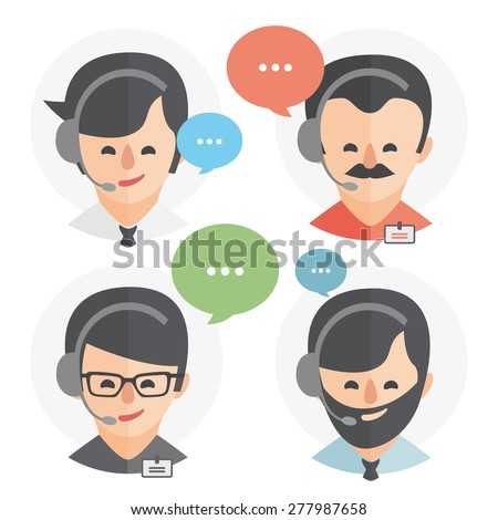 Call center operator with headset web icon design. Male call center avatar set. Client services and communication, customer support, phone assistance, information, solutions. Vector - stock vector