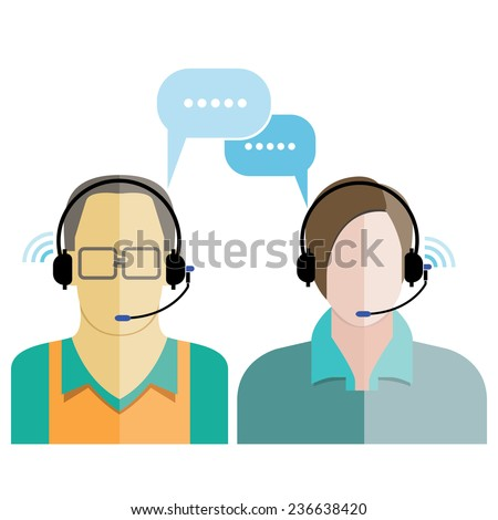 call center service, customer support, phone assistance  - stock vector