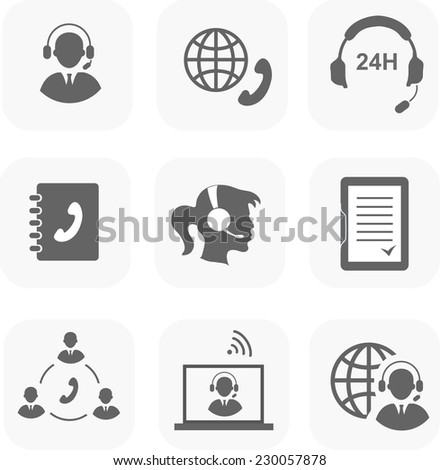Call center servise set icons  phone assistance and headset customer care  isolated - stock vector