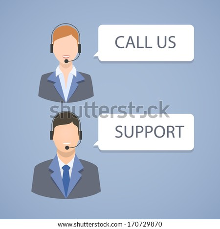 Call center support emblem isolated vector illustration - stock vector