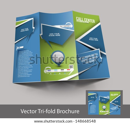 Call Center Tri-fold brochure design, vector illustartion - stock vector