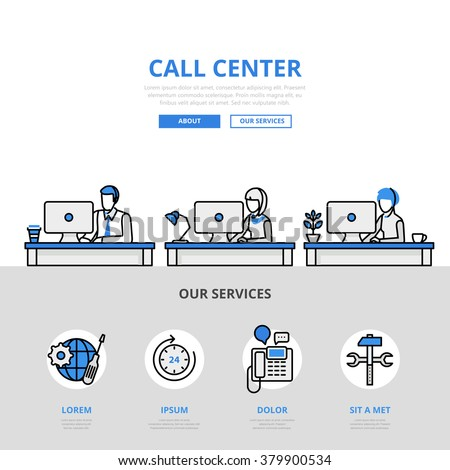 Call center user support office workplace concept flat line art vector icon. Modern website infographics illustration hero image web banner printed material. Line art collection. - stock vector