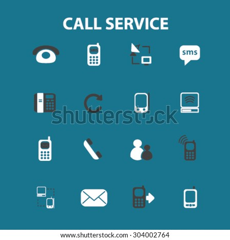call customer service flat isolated icons, signs, illustrations set, vector for web, application - stock vector