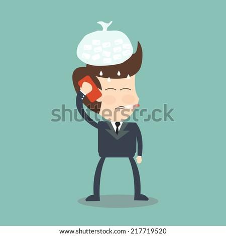 call in sick - businessman sick - stock vector