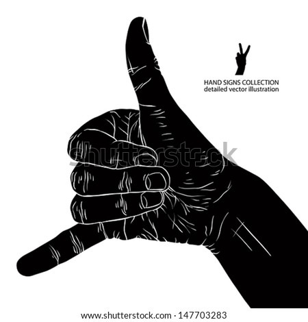 Call me hand sign, detailed black and white vector illustration.