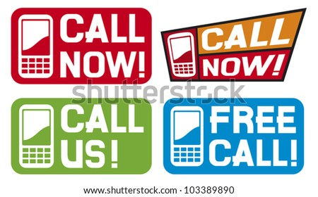 call now label, call us label, free call label (phone icon set, phone icons, mobil phone icons) - stock vector