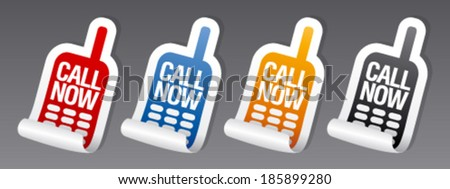 Call now stickers set. - stock vector