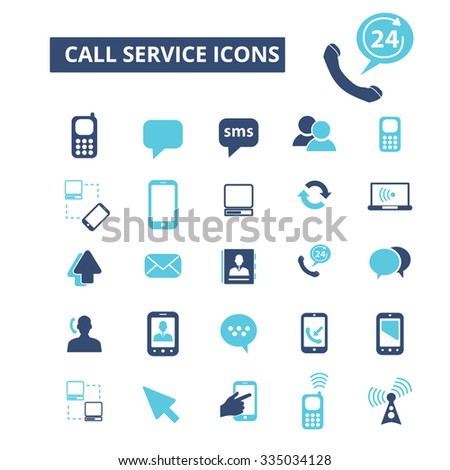 call service, communication, connection, technology, mobile  icons, signs vector concept set for infographics, mobile, website, application  - stock vector