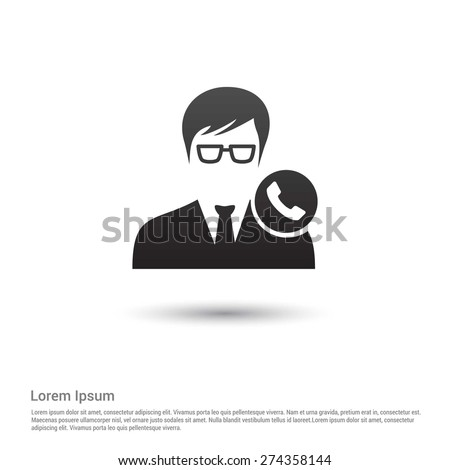 Call to User Icon, pictogram icon on gray background. - stock vector