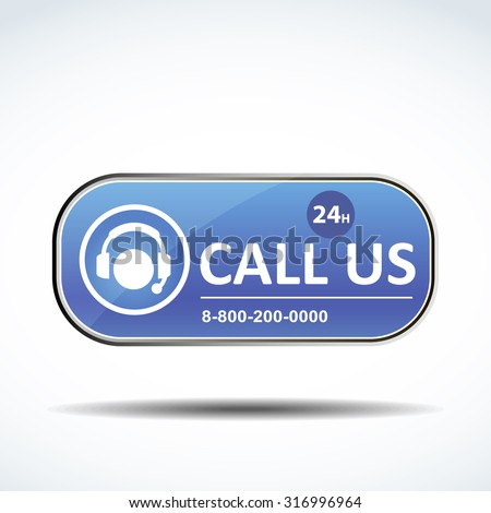 Call us button in blue color for website design - stock vector