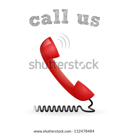 Call us red vector business headphone icon - stock vector
