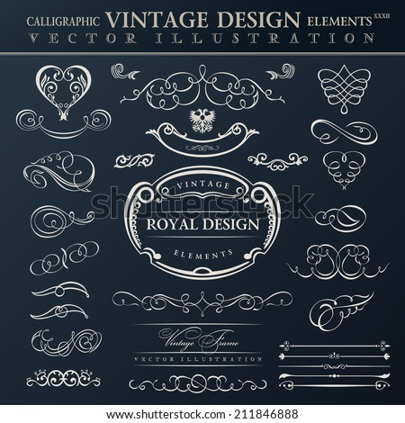 Calligraphic abstract elements set. Vector vintage frames ornament - stock vector