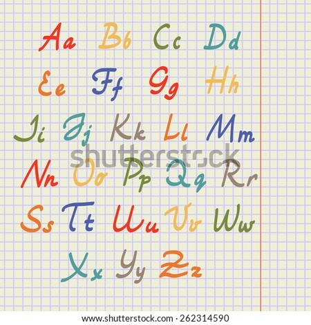 Calligraphic alphabet. Hand drawn letters on school squared paper. Vector illustration.