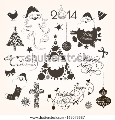 Calligraphic and typographic elements, frames, vintage labels, stickers, or tags for Merry Christmas and Happy New Year 2014 celebrations.