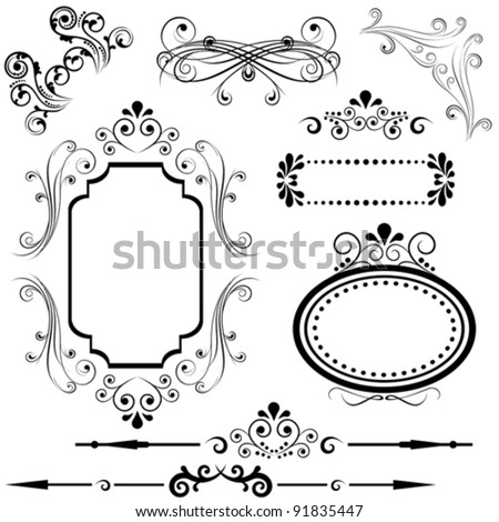 Calligraphic border and frame designs - stock vector