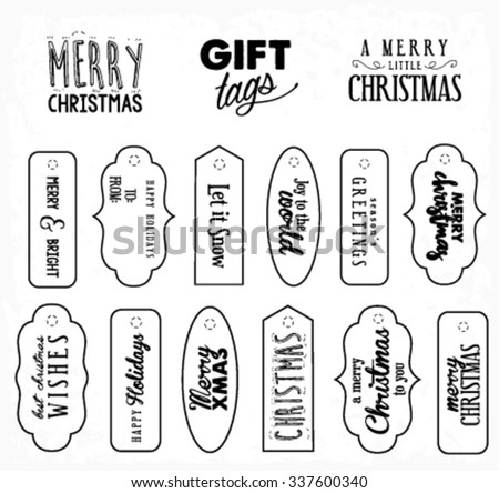 Calligraphic Christmas Gift Tags in Vintage Style - stock vector