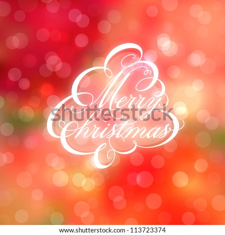 Calligraphic Christmas tree on bokeh background. Vector illustration. - stock vector