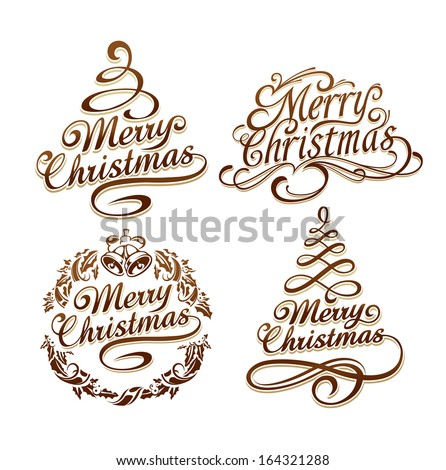 Calligraphic Christmas typography vector set. Vector illustration. - stock vector