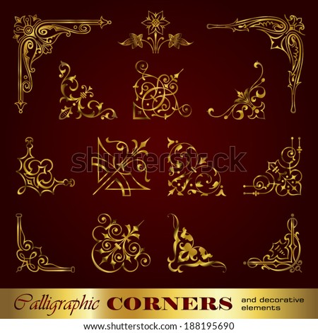 Calligraphic corners and decorative elements in gold - stock vector