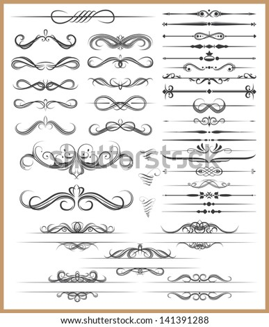 Calligraphic decorative elements - stock vector