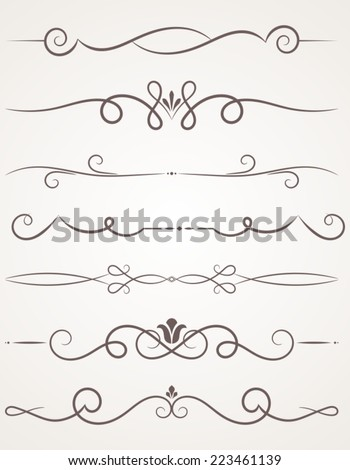 Calligraphic Decorative Elements Set Of Design