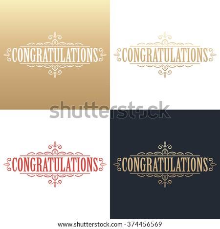 Golden Congratulations Card Design Template. Vector Illustration  Congratulations Card Template