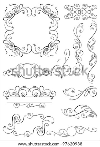 Calligraphic design elements and page decoration. All elements are separate. - stock vector