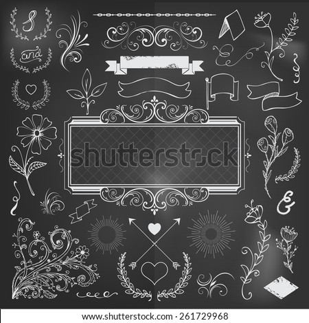 calligraphic design elements and page decoration for wedding or menu, on black board - stock vector
