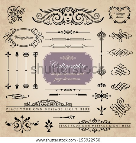 Calligraphic design elements and page decoration set 10 - stock vector