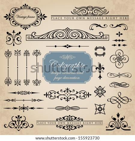 Calligraphic design elements and page decoration set 11 - stock vector