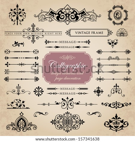 Calligraphic design elements and page decoration set 14 - stock vector
