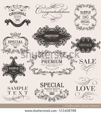 calligraphic design elements and page decoration/ vector collection