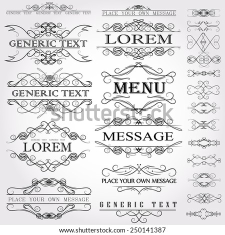 Calligraphic design elements and page decoration - vector set. Vector illustration