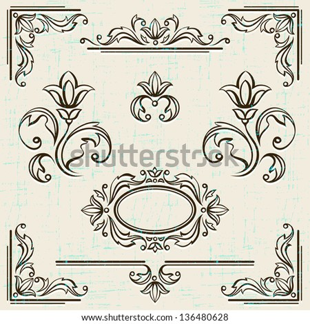 Calligraphic design elements and page decoration vintage frames. - stock vector