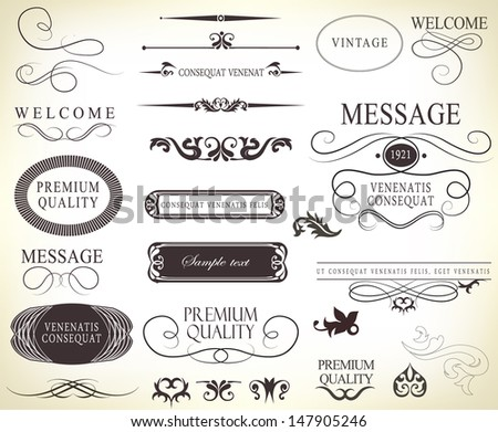 Calligraphic Design Elements And Page Decoration With Ribbon Typography Vector Set