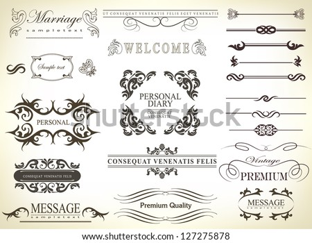 calligraphic design elements and page decoration with ribbon/ vector set - stock vector
