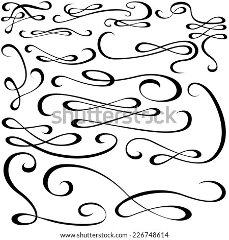 Calligraphic Design Elements - Black Illustration, Vector - stock vector