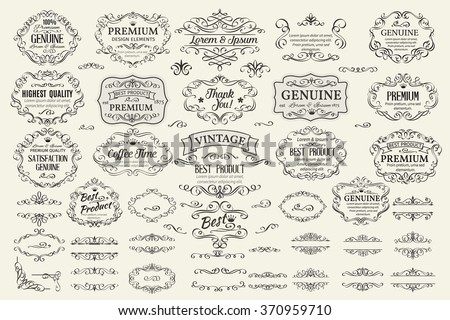 Calligraphic Design Elements . Decorative Swirls Scrolls  Frames Labels and Dividers. Vintage Vector Illustration. - stock vector