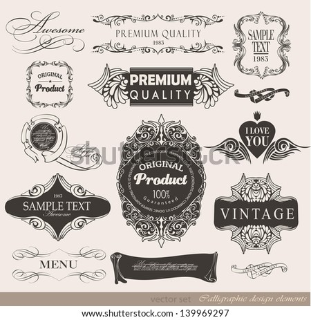 calligraphic design elements, label and page decoration/ vector set