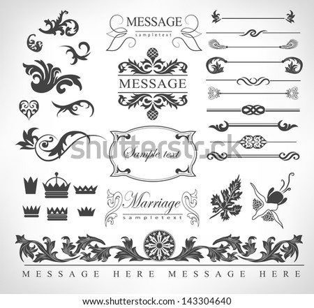 calligraphic design elements, page decoration and labels