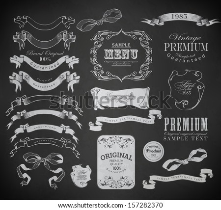 calligraphic design elements/ page decoration, guarantee Label, calligraphic frames / vector set - stock vector