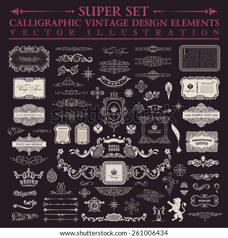 Calligraphic design elements. Signs and Symbols Vector baroque set. Vintage elements and page decoration. Border frames collection royal ornament - stock vector