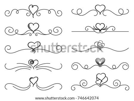 set curls scrolls decorative elements frames stock vector