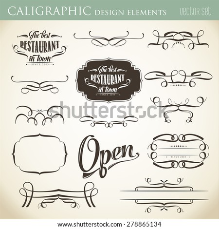 calligraphic design elements to embellish your layout, vector format