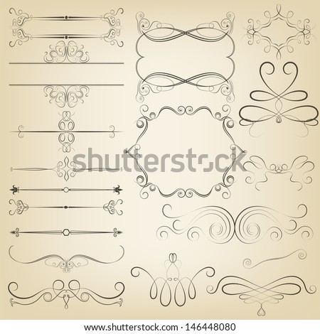 Calligraphic design elements. Vector illustration - stock vector