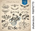 calligraphic design elements - vector set - stock photo