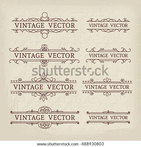 Calligraphic design elements. Vector set of vintage page decorations